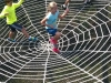 There's a trampoline-like spider web