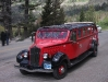 red touring bus of Glacier NP